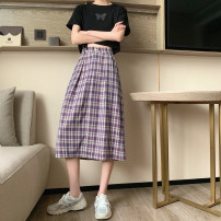 skirt Spring 2021 XXS, XS Plaid long, plaid short Mid length dress commute High waist A-line skirt lattice Type A 18-24 years old 71% (inclusive) - 80% (inclusive) other polyester fiber Back elastic waist Korean version 201g / m ^ 2 (including) - 250G / m ^ 2 (including)