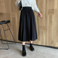 skirt Spring 2021 Mid length dress Versatile High waist Pleated skirt Solid color Type A 18-24 years old 51% (inclusive) - 70% (inclusive) other polyester fiber fold 401g / m ^ 2 (inclusive) - 500g / m ^ 2 (inclusive)