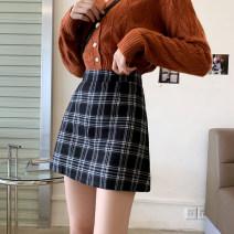 skirt Summer 2021 XXS,XS,S,M Huangge, Haige Short skirt Versatile High waist skirt lattice Type A 18-24 years old 71% (inclusive) - 80% (inclusive) other polyester fiber zipper 201g / m ^ 2 (including) - 250G / m ^ 2 (including)
