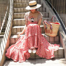 Dress Summer of 2019 Red check blue check S M L XL longuette singleton  Sleeveless commute One word collar Loose waist lattice Socket Ruffle Skirt straps 25-29 years old Enchantment of imperial concubines Korean version Lace up button with ruffle Y353 31% (inclusive) - 50% (inclusive) cotton