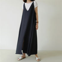 Dress Summer 2020 Navy Black S M L XL longuette singleton  Sleeveless commute V-neck Loose waist Solid color Socket A-line skirt routine camisole 25-29 years old Enchantment of imperial concubines Korean version Strap split F163 31% (inclusive) - 50% (inclusive) cotton Cotton 50% LINEN 50%