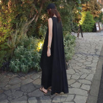 Dress Spring of 2019 black S M L XL longuette Sleeveless commute Crew neck Loose waist Solid color Socket Irregular skirt 25-29 years old Enchantment of imperial concubines Korean version Y181 More than 95% cotton Cotton 100% Pure e-commerce (online only)