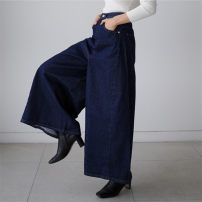 Casual pants blue S M L XL Summer 2021 Ninth pants Wide leg pants Natural waist commute routine 25-29 years old U19 Enchantment of imperial concubines Korean version pocket cotton Polyester 100% Pure e-commerce (online only)