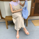 Dress Summer of 2019 BEIGE BLACK S M L XL longuette singleton  Sleeveless commute Loose waist Solid color Socket A-line skirt straps 25-29 years old Enchantment of imperial concubines Korean version Pocket button B151 31% (inclusive) - 50% (inclusive) cotton Cotton 50% LINEN 50%