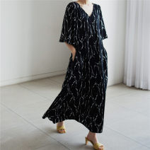 Dress Summer 2021 black S M L XL longuette singleton  Long sleeves commute Crew neck Loose waist Broken flowers Socket A-line skirt pagoda sleeve 25-29 years old Type A Enchantment of imperial concubines Korean version Bow pocket lace up print U41 More than 95% Chiffon polyester fiber Polyester 100%