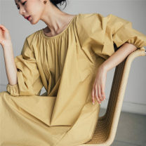Dress Summer 2021 Beige Pink Blue Black S M L XL longuette singleton  Long sleeves commute Crew neck Loose waist Solid color Socket A-line skirt bishop sleeve 25-29 years old Type A Enchantment of imperial concubines Korean version Bow fold pocket lace up U40 More than 95% cotton Cotton 100%
