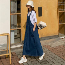 Dress Summer 2020 blue S M L XL longuette singleton  Sleeveless commute One word collar High waist Solid color Socket A-line skirt straps 25-29 years old Enchantment of imperial concubines Pocket strap button F21 More than 95% polyester fiber Polyester 100% Pure e-commerce (online only)