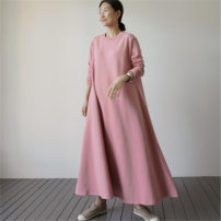 Sweater / sweater Autumn 2020 Pink S M L XL Long sleeves have more cash than can be accounted for singleton  routine Crew neck Straight cylinder commute routine Solid color 25-29 years old 96% and above Enchantment of imperial concubines Korean version cotton F195 pocket Cotton 100%