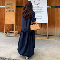 Dress Summer 2020 Navy Blue S M L XL longuette singleton  elbow sleeve commute Crew neck Loose waist Solid color Socket A-line skirt Pile sleeve 25-29 years old Enchantment of imperial concubines Korean version Bow fold lace F64 More than 95% cotton Cotton 100% Pure e-commerce (online only)