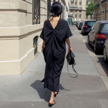 Dress Summer 2020 black S M L XL longuette singleton  Short sleeve commute Crew neck Loose waist Solid color Socket Irregular skirt routine 25-29 years old Enchantment of imperial concubines bow 51% (inclusive) - 70% (inclusive) cotton Cotton 70% polyester 30% Pure e-commerce (online only)