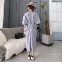 Dress Spring of 2018 Blue and white S M L XL Mid length dress singleton  Long sleeves commute Crew neck Loose waist houndstooth  Socket Irregular skirt Bat sleeve 25-29 years old Enchantment of imperial concubines Korean version Pleated button FA31 31% (inclusive) - 50% (inclusive) cotton