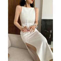 Dress Summer 2021 White, red, black S,M,L Middle-skirt singleton  commute other High waist Solid color other other other camisole 18-24 years old Yuji Britain 32723 shoulder side split dress More than 95% other other