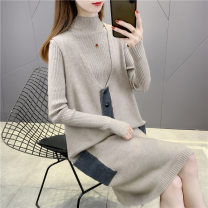 sweater Winter 2020 S M L XL Camel apricot grey black Long sleeves Socket Two piece set Medium length other 95% and above Half high collar Regular commute routine other Straight cylinder Regular wool Keep warm and warm 25-29 years old Imongssan / yimengshang 75YMSXX18515 Button Other 100%