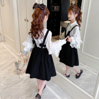 suit nainsect White shirt + black suspender skirt 120cm 130cm 140cm 150cm 160cm 170cm female spring and autumn Korean version Long sleeve + skirt 2 pieces routine There are models in the real shooting Socket nothing Solid color cotton children Expression of love 21-0043 Class B Other 100% Spring 2021