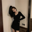 Dress Autumn 2020 Black Khaki S M L Short skirt singleton  Long sleeves commute Slant collar High waist Solid color Socket other routine Others 18-24 years old Type A Jiasiqing Retro Splicing NLFK29765 More than 95% other other Other 100% Pure e-commerce (online only)