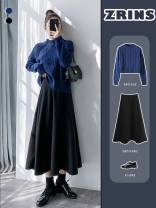 Cosplay women's wear Other women's wear goods in stock Over 14 years old Black wool medium length umbrella skirt, coffee wool medium length umbrella skirt, black suit umbrella skirt, coffee suit umbrella skirt comic S,M,L