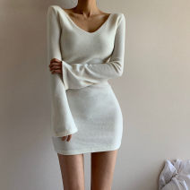 Dress Winter 2020 White, black S,M,L Short skirt singleton  Long sleeves street V-neck High waist Solid color routine 18-24 years old Type H WKD9555W12 Europe and America