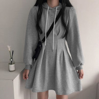Dress Spring 2021 Gray, black S,M,L Short skirt singleton  Long sleeves street Hood High waist Solid color Socket A-line skirt routine 18-24 years old Type A 51% (inclusive) - 70% (inclusive) cotton Europe and America