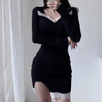 Dress Winter 2020 black S,M,L Short skirt singleton  Long sleeves street square neck High waist Socket One pace skirt routine 18-24 years old Type H Lace WKMKD00517 More than 95% cotton Europe and America
