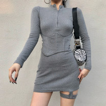 Dress Winter 2020 Gray, black S,M,L Short skirt singleton  Long sleeves street Polo collar High waist Solid color One pace skirt 18-24 years old Type H WKD6974V0I 51% (inclusive) - 70% (inclusive) polyester fiber Europe and America