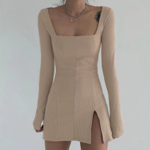 Dress Autumn 2020 Khaki, black S,M,L,XL Short skirt singleton  Long sleeves street square neck High waist Solid color Socket One pace skirt routine Others 18-24 years old Type H WKD9211W11 31% (inclusive) - 50% (inclusive) knitting cotton Europe and America