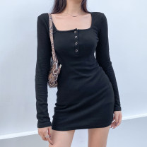 Dress Autumn 2020 black S,M,L Short skirt singleton  Long sleeves street square neck High waist Solid color One pace skirt routine 18-24 years old Type H WKD4659W0G More than 95% cotton Europe and America