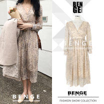 Dress Spring of 2019 Picture color S,M,L,XL Mid length dress singleton  Long sleeves commute V-neck High waist Broken flowers Socket Big swing routine Others 18-24 years old Type A Other / other Retro Bowknot, tuck, lace, strap, button, zipper