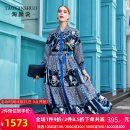 Dress Autumn 2020 Decor M L XL XXL longuette Nine point sleeve commute square neck Decor Single breasted routine 35-39 years old Tao Yan said printing More than 95% silk Mulberry silk 100% Pure e-commerce (online only)