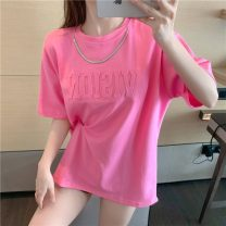 Lace / Chiffon Summer 2021 White pink S M L Short sleeve commute Socket singleton  easy Medium length Crew neck Solid color routine 18-24 years old Lovely beauty Korean version 30% and below Cotton 100%