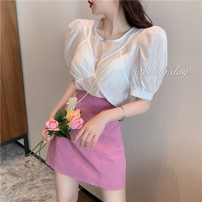 short coat Summer 2021 S M L White top taro purple top deep purple skirt purple pink skirt routine singleton  commute 18-24 years old Lovely beauty 96% and above other Other 100% Pure e-commerce (online only)