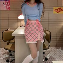 shirt Blue top plaid skirt S M L Summer 2021 other 96% and above Long sleeves commute Short style (40cm < length ≤ 50cm) V-neck Socket routine stripe 18-24 years old Self cultivation Lovely beauty Korean version #77140 Other 100%