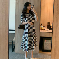 Dress Summer 2021 stripe XS S M longuette singleton  Short sleeve commute Crew neck High waist stripe Socket A-line skirt routine 25-29 years old Type A Teilwenl / Tiki Retro Splicing TWX34529S-DY More than 95% other Other 100% Pure e-commerce (online only)