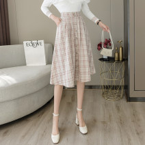 skirt Spring 2021 S M L XL Grey check and pink check Mid length dress commute High waist Princess Dress lattice Type A 18-24 years old LLH6513 More than 95% Chiffon Love flowers other Pocket button zipper Korean version Other 100% Pure e-commerce (online only)