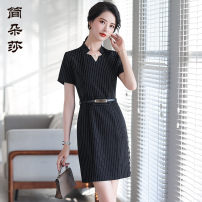 Dress Spring 2020 White striped dress black striped dress S M L XL 2XL 3XL 4XL Mid length dress singleton  Short sleeve commute V-neck middle-waisted stripe zipper A-line skirt 25-29 years old Type X Jandorsa Retro JDS938 91% (inclusive) - 95% (inclusive) polyester fiber Pure e-commerce (online only)