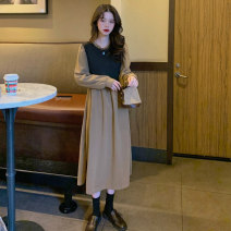 Dress Spring 2021 Blue gray Khaki M L XL XXL 3XL Mid length dress Fake two pieces Long sleeves commute Crew neck High waist other Socket A-line skirt routine 18-24 years old Type A Emperor rhyme Korean version Splicing jt2893 51% (inclusive) - 70% (inclusive) polyester fiber