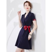 Dress Summer 2021 Middle-skirt singleton  Short sleeve commute V-neck middle-waisted zipper routine Breast wrapping 25-29 years old Wei Baolai Ol style zipper 8022-2 More than 95% other Other 100% Pure e-commerce (online sales only) S M L XL 2XL 3XL