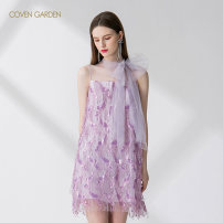 Dress Summer 2020 Purple 710 XS S M L XL XXL Mid length dress singleton  Sleeveless commute stand collar middle-waisted Solid color Socket A-line skirt routine Hanging neck style 25-29 years old Type A Coven Garden Simplicity Tassel lace up Sequin mesh CRA2084070 More than 95% nylon