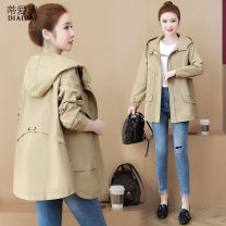 short coat Spring 2021 M L XL 2XL 3XL Black Khaki Long sleeves Medium length routine singleton  easy commute routine Hood zipper Solid color Dee Adele 96% and above Embroidered pocket button zipper PRmA04535 other nylon Other 100% Pure e-commerce (online only)