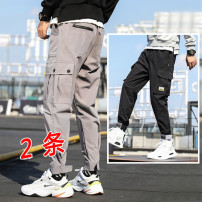 Casual pants WZE Youth fashion S M L XL 2XL 3XL 4XL 5XL routine Ninth pants Other leisure easy Micro bomb autumn teenagers tide 2019 middle-waisted Straight cylinder Polyester 100% Overalls Pocket decoration No iron treatment Autumn of 2019 Pure e-commerce (online only)