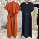 Dress Summer of 2019 Navy, orange, lotus root powder S,M,L,XL longuette singleton  Short sleeve commute Crew neck middle-waisted Solid color Socket Princess Dress routine Others 18-24 years old Type H Korean version Open back, resin fixation More than 95% other hemp