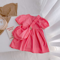 Dress Pink female Sauter bear 80cm,90cm,100cm,110cm,120cm,130cm Cotton 100% summer leisure time Short sleeve Solid color cotton A-line skirt SXH3EE4S Class B 7 years, 8 years, 12 months, 3 years, 6 years, 18 months, 2 years, 5 years, 4 years Chinese Mainland Zhejiang Province Hangzhou