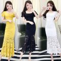 Dress Autumn of 2019 White [371] black [371] yellow [371] S M L XL Middle-skirt singleton  Short sleeve commute Crew neck High waist Solid color zipper One pace skirt other 18-24 years old The charm of benevolence Korean version printing ef61da7d-b7f2-4e0c-9ccc-acb982cfa39a More than 95% Lace cotton