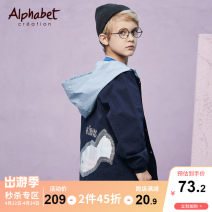 Plain coat alphabet  male 110cm,120cm,130cm,140cm,150cm,160cm Tibetan green spring and autumn Europe and America Single breasted There are models in the real shooting routine No detachable cap Cartoon animation Cotton blended fabric other Class C