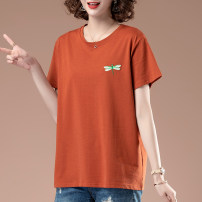 T-shirt Dark orange black L XL 2XL 3XL 4XL 5XL Summer 2021 Short sleeve Crew neck easy Regular routine commute cotton 96% and above Simplicity originality Solid color Kiss Dee W9521 Embroidery Cotton 100% Pure e-commerce (online only)