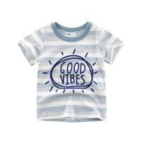 T-shirt Tw940a blue room 27KIDS 140cm,130cm,120cm,110cm,100cm,90cm female summer Short sleeve Crew neck Europe and America No model cotton stripe TW940 Class A Sweat absorption 3 months Chinese Mainland