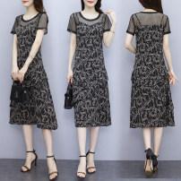 Dress Spring 2021 black L XL 2XL 3XL 4XL 5XL Miniskirt Short sleeve commute Broken flowers 18-24 years old Labran Korean version wRiJ23632 More than 95% other Other 100%
