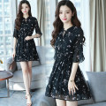 Dress Spring 2021 Pink Black S M L XL 2XL 3XL Middle-skirt singleton  Long sleeves commute Crew neck High waist Decor Socket A-line skirt pagoda sleeve 18-24 years old Type A Labran Korean version ppAT03637 More than 95% Chiffon other Other 100%