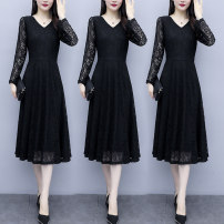 Dress Autumn 2020 Apricot black M L XL 2XL 3XL 4XL 5XL longuette singleton  Short sleeve commute V-neck middle-waisted Solid color Socket A-line skirt 18-24 years old Type A Labran Korean version Gouhua hollow ZQBM50969 More than 95% other Other 100%