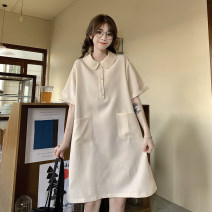 Women's large Spring 2021 khaki M L XL Dress singleton  commute easy thin Socket elbow sleeve Solid color Korean version Polo collar Medium length cotton Make old routine Shadow Tong's posture 18-24 years old pocket 30% and below Polyester 65% Cotton 30% polyurethane elastic fiber (spandex) 5%