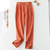 Casual pants Brown, white, black, apricot, orange M [90-100 Jin], l [100-112 Jin], XL [112-125 Jin], 2XL [125-138 Jin], 3XL [138-152 Jin] Spring 2021 Ninth pants Haren pants Natural waist commute routine 81% (inclusive) - 90% (inclusive) Other / other hemp literature pocket hemp